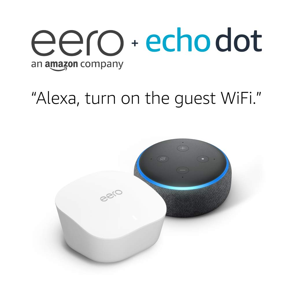 Amazon eero mesh WiFi system (3-pack) with Free Echo Dot (Charcoal)