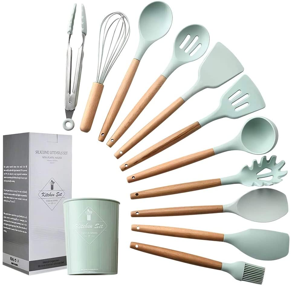 Silicone Cooking Utensil Set,esonmus 11pcs Kitchen Utensil Set with Holder and Wooden Handle,BPA Free,Non-stick,Heat Resistant Cookware Set,Mint Green