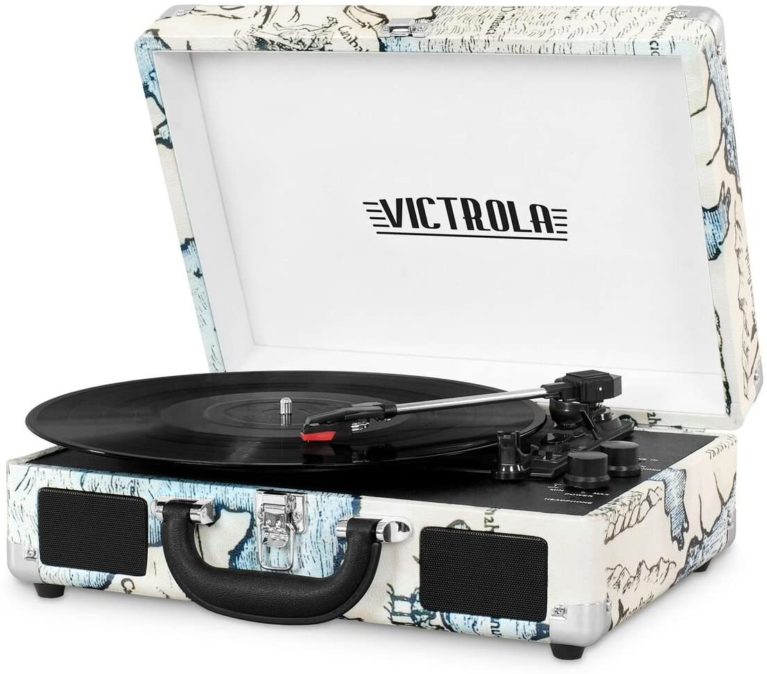 Victrola Vintage 3-Speed Bluetooth Portable Suitcase Record Player with Built-in Speakers | Upgraded Turntable Audio Sound| Includes Extra Stylus | Retro Map