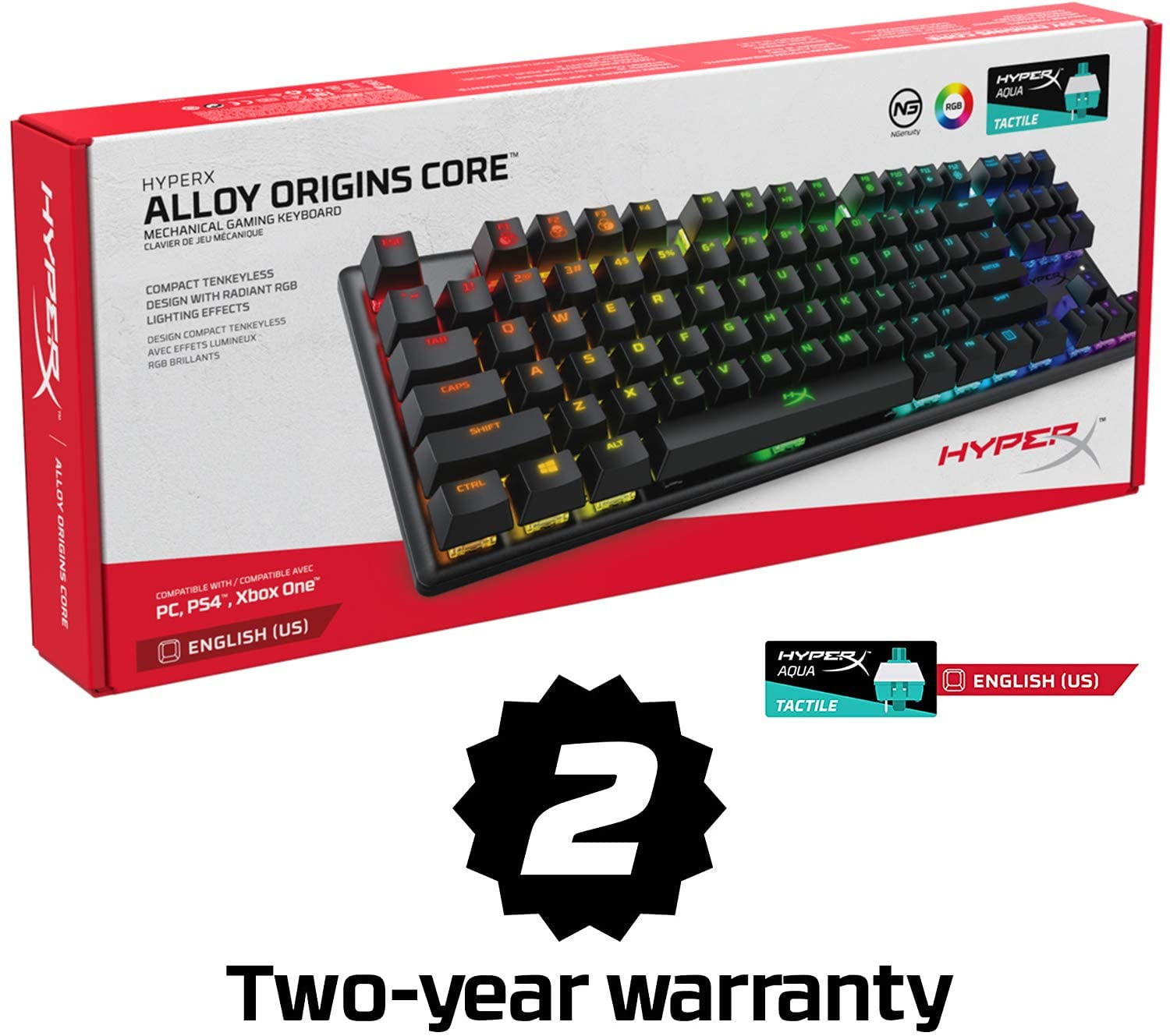 Clicky HyperX Blue Switch HyperX Alloy Origins Full Size Mechanical Gaming Keyboard Compact Form Factor RGB LED Backlit Software-Controlled Light /& Macro Customization