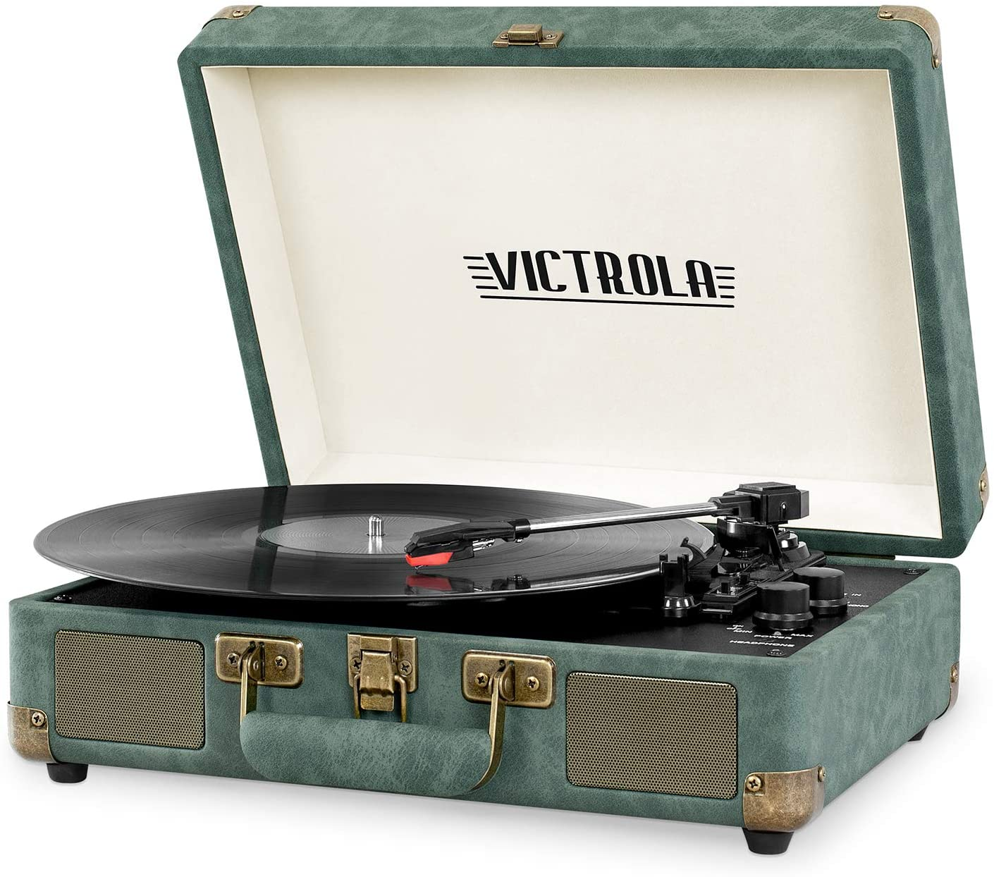 Victrola Vintage 3-Speed Bluetooth Portable Suitcase Record Player with Built-in Speakers | Upgraded Turntable Audio Sound| Includes Extra Stylus | Emerald Green
