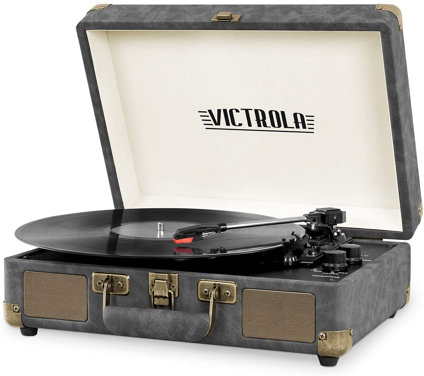Victrola Vintage 3-Speed Bluetooth Portable Suitcase Record Player with Built-in Speakers | Upgraded Turntable Audio Sound| Includes Extra Stylus | Faux Lambskin Gray with Bronze