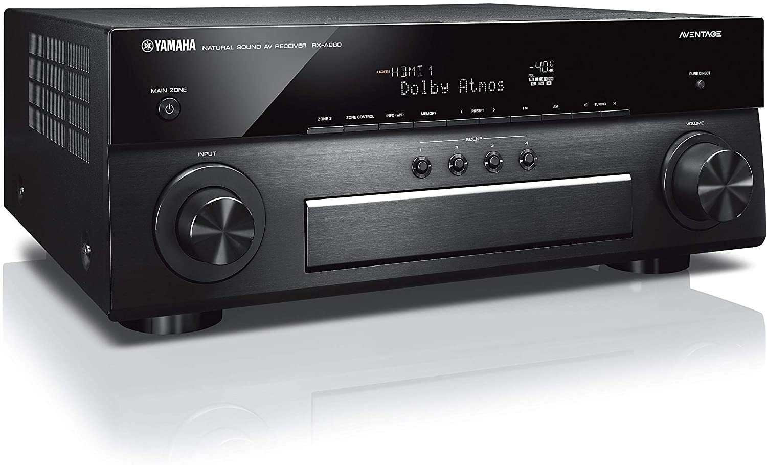 Yamaha Aventage RX-A880 7.2-ch 4K Receptor AV Ultra HD con HDR, Dolby Vision, Dolby Atmos, Wi-Fi, Phono, YPAO y MusicCast. Funciona con Alexa