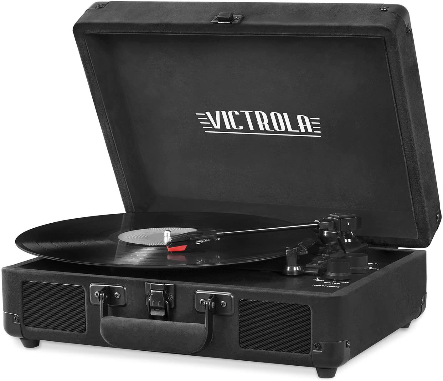 Victrola Vintage 3-Speed Bluetooth Portable Suitcase Record Player with Built-in Speakers | Upgraded Turntable Audio Sound| Includes Extra Stylus | Black Velvet