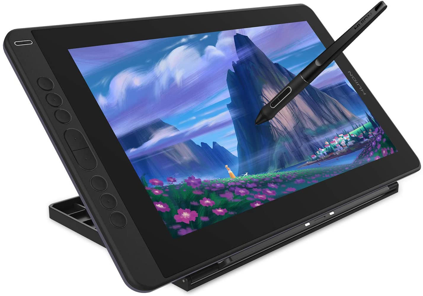 Huion Kamvas 13 Pen Display 2-in-1 Graphics Drawing Tablet with Screen Full-Laminated, Battery-Free Tilt Function 8192 Pen Pressure and 8 Shortcut Keys, Stand Included, Purple