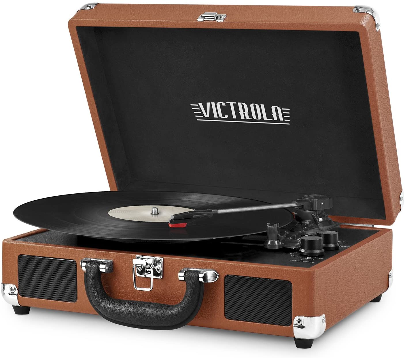 Victrola Vintage 3-Speed Bluetooth Portable Suitcase Record Player with Built-in Speakers | Upgraded Turntable Audio Sound| Includes Extra Stylus | Cognac