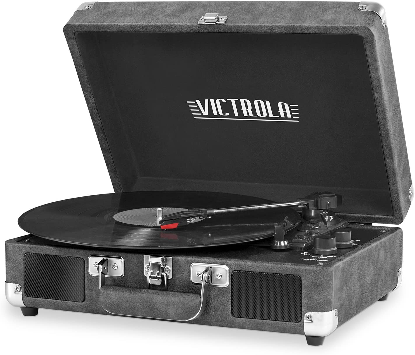 Victrola Vintage 3-Speed Bluetooth Portable Suitcase Record Player with Built-in Speakers | Upgraded Turntable Audio Sound| Includes Extra Stylus | Gray