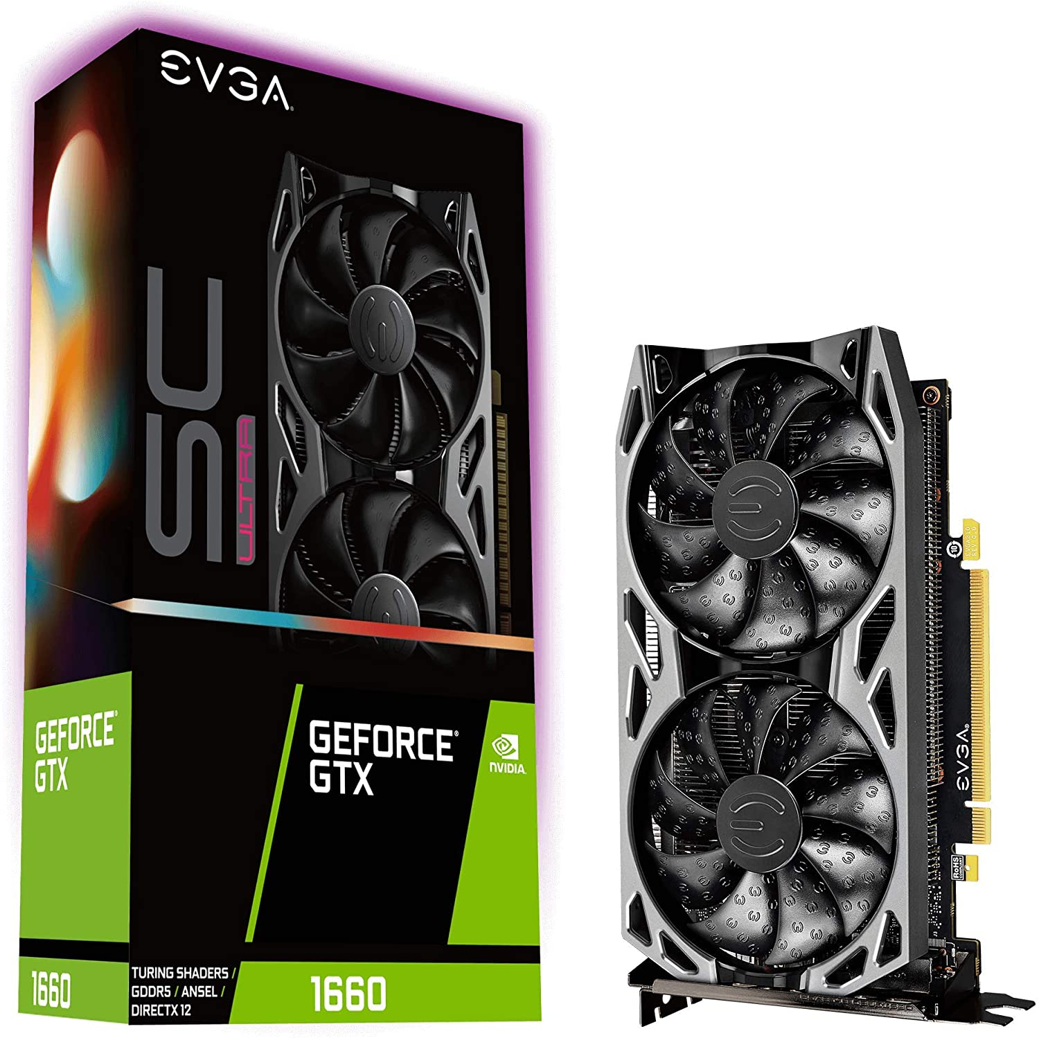EVGA GeForce GTX 1660 SC Ultra Gaming, 06G-P4-1067-KR, 6GB GDDR5, ventilador dual