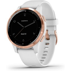 Garmin Vivoactive 4S, Smaller-Sized GPS Smartwatch, Features Music, Body Energy Monitoring, Animated Workouts, Pulse Ox Sensors and More, Rose Gold with White Band